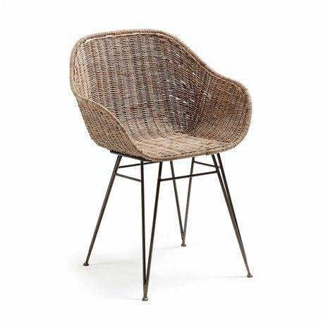 Silla Charley metal gris y rattan natural